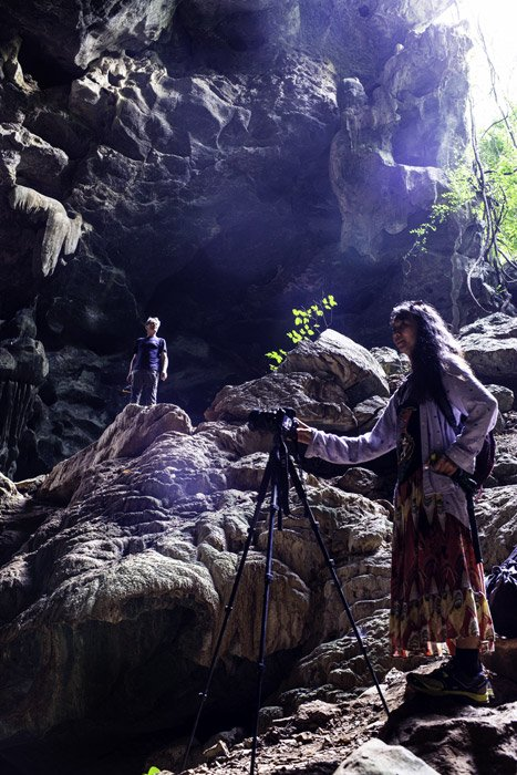 Man and woman  in a cave on Doi Inthanon, Thailand